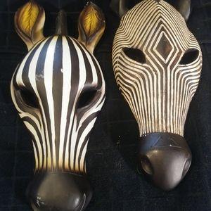 Set of 2  African jungle masks. animal home decor